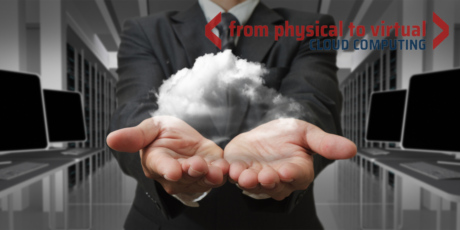 Man holding a cloud in his hand