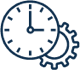 Icon depicting a clock and a gear