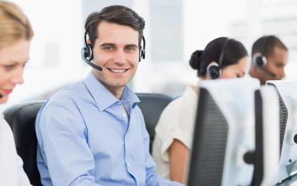 Smiling customer service agent