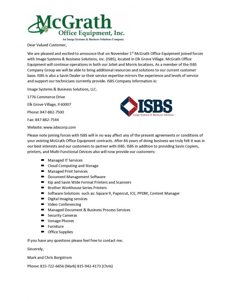 ISBS Welcomes McGrath Office Equipment Customers